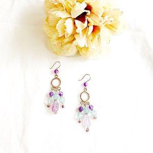 Sterling, Amethyst, Aqua Quartz Crystal Earrings